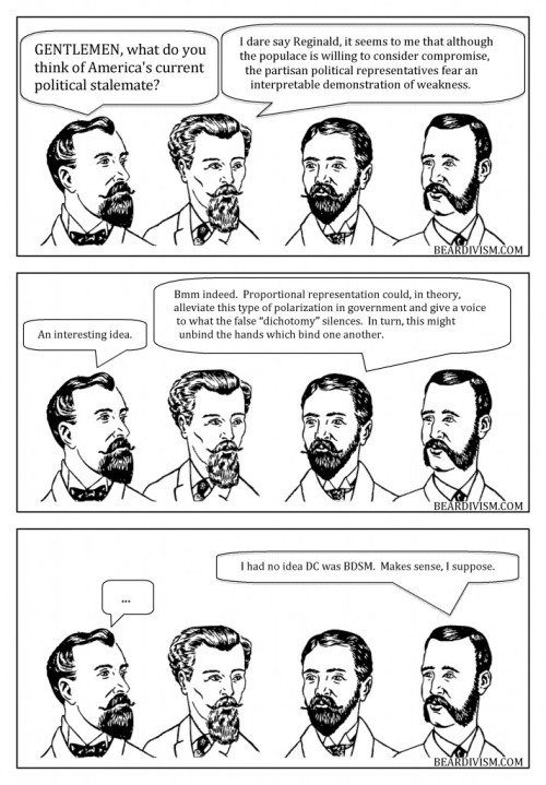 Political Stalemate government bdsm beard comic proportional representation