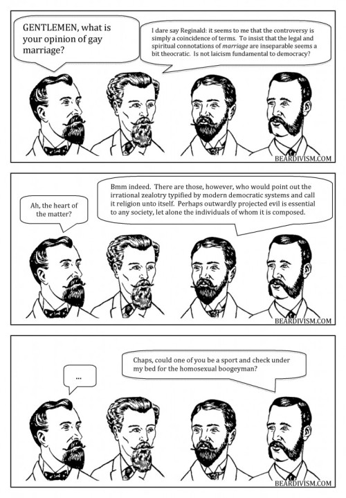 Gay Marriage demonizing church and state beard comic