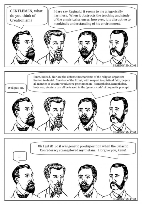 OT levels dangerously low creationism scientology beard comic